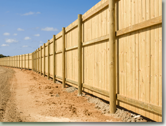 Wooden fence installation